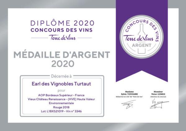 Diplome Argent Tdv Vignobles Turtaut 2020