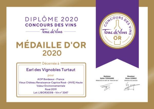 Diplome Or Tdv Vignobles Turtaut 2020
